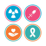 Medicine icons. Syringe, life, radiation. Medicine icons. Syringe, life insurance, radiation and ribbon signs. Breast cancer awareness symbol. Hand holds heart Royalty Free Stock Image