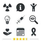 Medicine icons. Syringe, life, radiation. Stock Photography