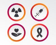 Medicine icons. Syringe, life, radiation. Medicine icons. Syringe, life insurance, radiation and ribbon signs. Breast cancer awareness symbol. Hand holds heart Royalty Free Stock Images