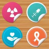 Medicine icons. Syringe, life, radiation. Round stickers or website banners. Medicine icons. Syringe, life insurance, radiation and ribbon signs. Breast cancer Royalty Free Stock Photo
