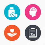 Medicine icons. Tablets bottle, brain, Rx Stock Photo