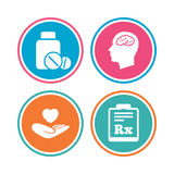Medicine icons. Tablets bottle, brain, Rx. Stock Image