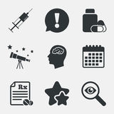 Medicine icons. Tablets bottle, brain, Rx. Stock Photography