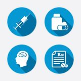 Medicine icons. Tablets bottle, brain, Rx Stock Photography