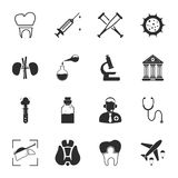 Medicine 16 icons universal set for web and mobile. Flat vector illustration