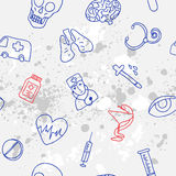 Medicine icons vector doodle seamless background Royalty Free Stock Image