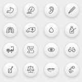 Medicine icons with white buttons on gray backgrou. Vector icons set for websites, guides, booklets Stock Photo