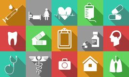 Medicine icons white Stock Images