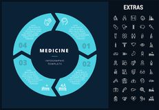 Medicine infographic template, elements and icons. Infograph includes customizable circular diagram, line icon set with medical stethoscope, disable person Royalty Free Stock Photos