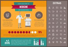 Medicine infographic template, elements and icons. Infograph includes customizable graphs, charts, line icon set with medical stethoscope, disable person Royalty Free Stock Image
