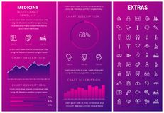 Medicine infographic template, elements and icons. Infograph includes customizable graphs, charts, line icon set with medical stethoscope, disable person Royalty Free Stock Photos