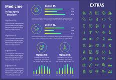Medicine infographic template, elements and icons. Infograph includes customizable graphs, four options, line icon set with medical stethoscope, disable person Stock Images