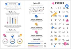 Medicine infographic template, elements and icons. Infograph includes customizable graphs, options, line icon set with medical stethoscope, disable person Royalty Free Stock Photo
