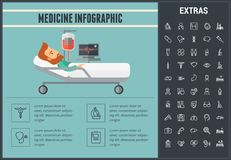 Medicine infographic template, elements and icons. Infograph includes line icon set with medical stethoscope, disabled person, hospital doctor, nurse, first Royalty Free Stock Images