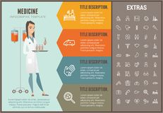 Medicine infographic template, elements and icons. Medicine infographic options template, elements and icons. Infograph includes line icon set with medical Stock Photo