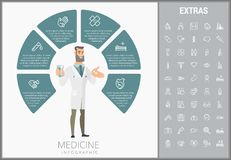 Medicine infographic template, elements and icons. Infograph includes customizable circular diagram, line icon set with medical stethoscope, disable person Stock Photos