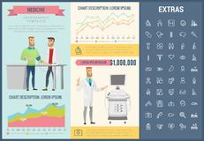Medicine infographic template, elements and icons. Infograph includes customizable graphs, charts, line icon set with medical stethoscope, disable person Stock Images