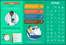 Medicine infographic template, elements and icons. Infograph includes customizable graphs, charts, line icon set with medical stethoscope, disable person Royalty Free Stock Photo