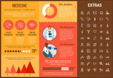 Medicine infographic template, elements and icons. Infograph includes customizable graphs, charts, line icon set with medical stethoscope, disable person Stock Photos
