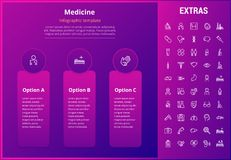 Medicine infographic template, elements and icons. Medicine options infographic template, elements and icons. Infograph includes line icon set with medical Stock Photos