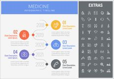 Medicine infographic template, elements and icons. Medicine infographic timeline template, elements and icons. Infograph includes numbered options with years Stock Image