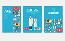 Medicine information cards set. Medical template of flyear, magazines, posters, book cover. Clinical infographic concept. On blue background. Layout stock illustration