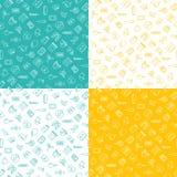 Medicine ison seamless pattern flat line set of 4 mint yellow white vector illustration