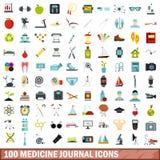 100 medicine journal icons set, flat style. 100 medicine journal icons set in flat style for any design vector illustration royalty free illustration