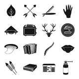 Medicine, kitchen, gay, hunting and other web icon in black style.. Medicine, kitchen, gay, hunting and other  icon in black style. symbol, hairdresser, body Stock Images
