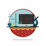 Medicine Laboratory. Vector themes of medicine. Color graphic pattern. Icons and Themes for web design royalty free illustration