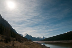 Medicine lake. Beautiful scenic landscape of The Canadian Rockies, Medicine Lake Royalty Free Stock Photos