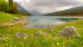 Medicine lake. In alberta (canada) in the end of summer stock photo