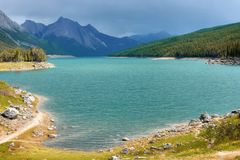 Medicine lake. In alberta (canada) in the end of summer stock photography