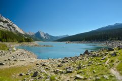 Medicine lake in Jasper Nation Park royalty free stock images