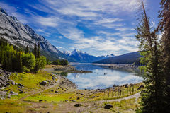 Medicine Lake, Jasper National Park, Alberta, Canada Stock Photos