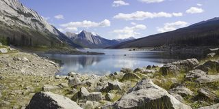 Medicine Lake. Photograph of Medicine Lake, Jasper National Park, Canada. To the early people, it was mysterious because the lake would appear annually and then royalty free stock image