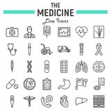 Medicine line icon set, medical symbols collection Royalty Free Stock Image