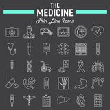 Medicine line icon set, medical symbols collection Stock Photography