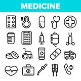 Medicine Line Icon Set Vector. Pharmacy Emergency Symbol. Drug Medicine. Clinic, Hospital Icon. Thin Outline Web royalty free illustration