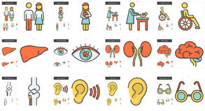 Medicine line icon set. Royalty Free Stock Photography