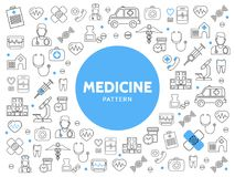 Medicine Line Icons Pattern Stock Image