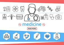 Medicine Line Icons Set. With doctor nurse syringe microscope tooth ambulance car dna pills caduceus heartbeat stethoscope first aid kit isolated vector Royalty Free Stock Photography