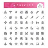 Medicine Line Icons Set. Set of 56 medical line icons suitable for web, infographics and apps. Isolated on white background. Clipping paths included vector illustration