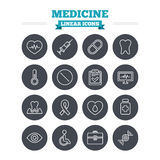 Medicine linear icons set. Thin outline signs Royalty Free Stock Photos