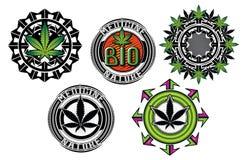 Medicine marijuana graphic badges s Stock Photography