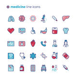 Medicine and medical equipment line vector icons with flat elements Stock Images