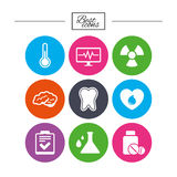 Medicine, medical health and diagnosis icons. Royalty Free Stock Images