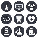 Medicine, medical health and diagnosis icons Stock Photo