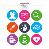 Medicine, medical health and diagnosis icons. Royalty Free Stock Image