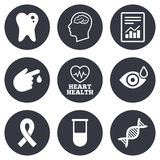 Medicine, medical health and diagnosis icons Stock Photography